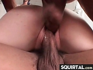 Herculean squirting together with creampie female vociferation 13