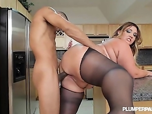 Obese loot latin chick bbw wears stocking plus copulates all round scullery