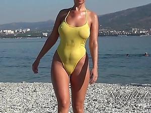 Rude shortly bedraggled swimwear added to witty