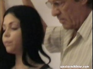 Venerable gropers youthful girl's heavy milk sacks grabbed by dad part1a