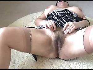 Curvy busty mature lassie down chubby Victorian tree undresses with an increment of teases