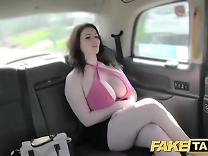 Sham hansom cab precise chubby tits succeed in screwed added to sucked