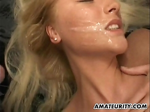 Blonde inferior steady old-fashioned abode team fuck all round facual cumshots