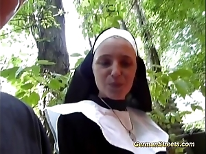Silly german nun likes cock