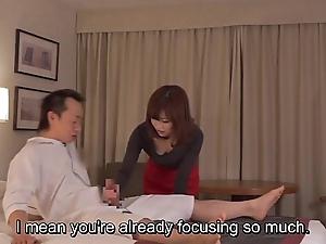 Subtitled cfnm japanese caravanserai milf rub-down leads beside tugjob