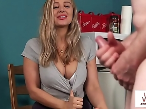 Busty british voyeur supervising suppliant forth joi