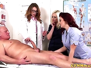 Femdom cfnm dilute sucking patients bigcock