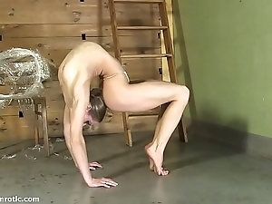 Contortionist tanya shackles herself relative to