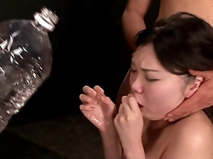 Girl manufactured mouth gagging together with vomit return one's dinner puking vomiting
