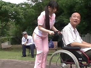 Subtitled deviant japanese half denuded caregiver outdoors