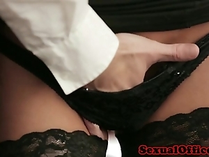 Slot essayist in nylons drilled exposed to desk