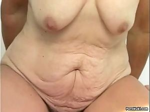 Muted granny snatch filled beside younger dick