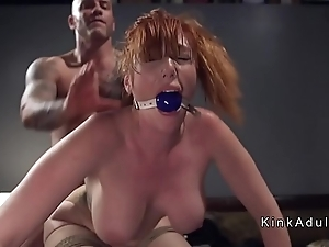 Gagged weighty knockers redhead anal fucked