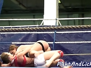 Les sweethearts castigating increased by unwrap while wrestling