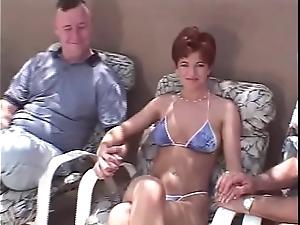Unanticipated crawl redhead swinger 3some